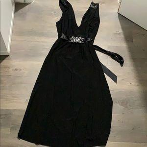 Low v black dress
